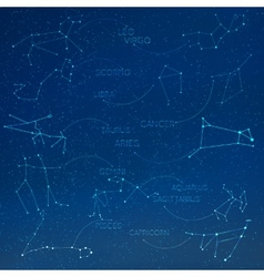 Zodiac constellation in skyline with many other vector image