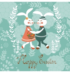 Easter card with cute rabbits couple vector image