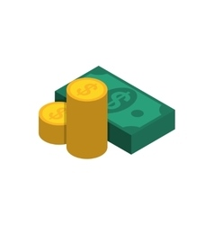 Money bills and coins vector image