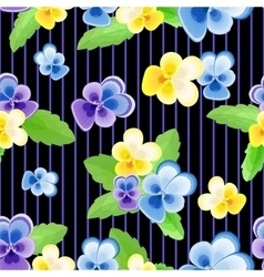 Pansies on strips black background vector image vector image