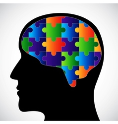 Silhouette with brain vector image