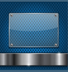blue perforated background with glass plate vector image vector image