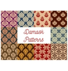 Damask ornate floral seamless pattern set vector image vector image