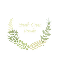 green doodle hand drawn herb border vector image vector image