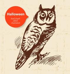 Halloween hand drawn owl vector image vector image