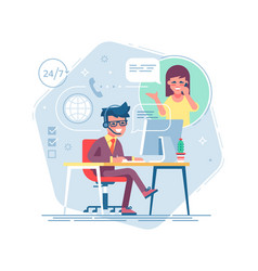 hotline operator consulting a client vector image
