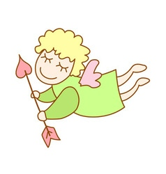 little cartoon flying angel with arrow of Cupid vector image