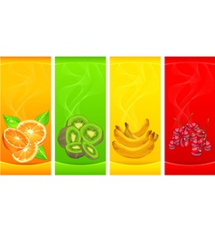 little four coloured fruits background vector image vector image