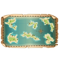 map of pirate with islands vector image vector image