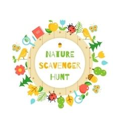 Nature Scavenger Hunt Kids Game Poster vector image vector image