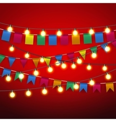 pennant bunting and Warm yellow Lights bulb vector image vector image