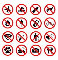 Set ban icons Prohibited symbols red signs vector image