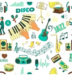 Colored hand draw music psttern vector image