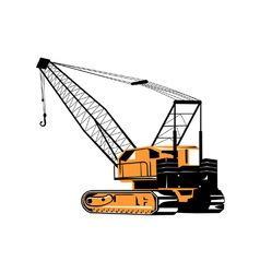 Construction crane hoist retro vector