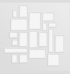 different white frames set on the wall with shadow vector image vector image