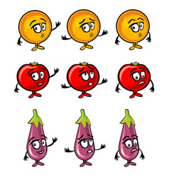 eggplant tomato orange cartoon smiles surprised vector image vector image