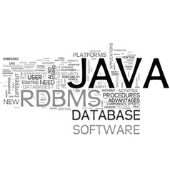 why java rdbms text word cloud concept vector image
