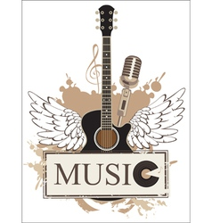 Wings with a guitar vector