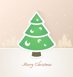 Christmas tree paper with snow background vector image vector image