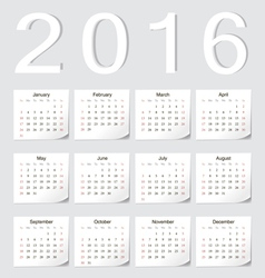 European 2016 calendar with shadow angles vector image vector image