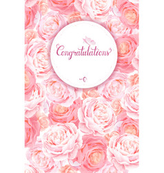 greeting card with the pink roses background vector image vector image