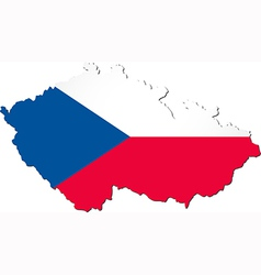 Map of the Czech Republic with national flag vector image