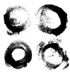 Round textured prints with paint on paper set 1 vector image vector image