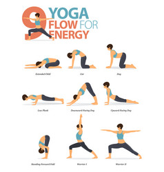 9 yoga poses for workout in yoga flow for energy vector
