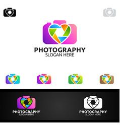 Abstract love camera photography logo icon design vector