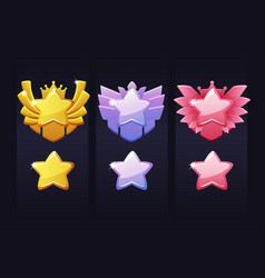 Achievement stars for game award labels vector
