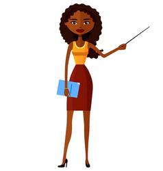 african attractive young lady presenting something vector image