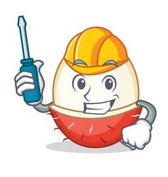 Automotive rambutan mascot cartoon style vector