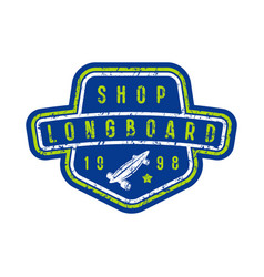 Badge of longboard shop vector