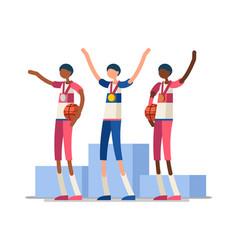 basketball athletes gold medal podium vector image