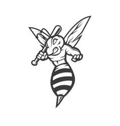Bee mascot logo design silhouette version vector