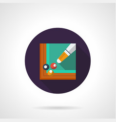 Billiards tournament flat round icon vector