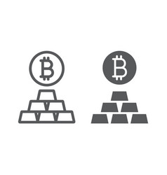 bitcoin vs gold line and glyph icon finance vector image