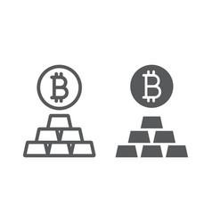 Bitcoin vs gold line and glyph icon finance vector