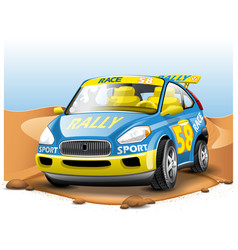 Blue race car on desert background in cartoon vector