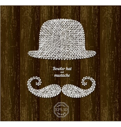 Bowler hat and mustache vector image