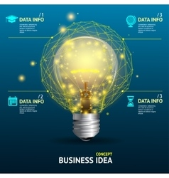 Business idea concept illuminated lamp vector