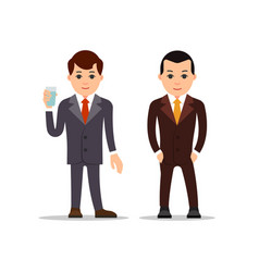 business man businessman stand and holds glass of vector image