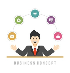 Business man concept and flat icons set options vector image
