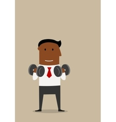 Businessman with dumbbells in fitness gym vector image