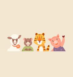 Cartoon animal portraits vector
