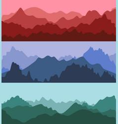 cartoon silhouette color mountains landscape vector image