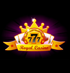 casino royale banner with ribbon and crown icon vector image
