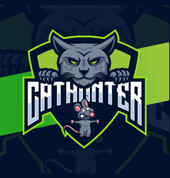 Cat hunter logo designs with and mouse mascot vector