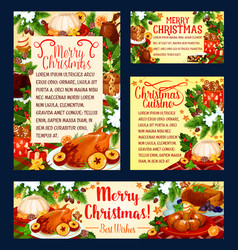 Christmas holiday cuisine festive dinner banner vector