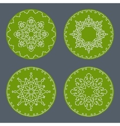 Christmas snowflake icon set Thin line signs vector